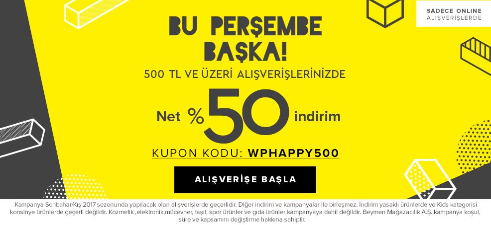 500 TL ve Üzeri Net %50 İnd.