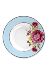 Çiçek Desenli Mavi Porselen Çorba Tabağı