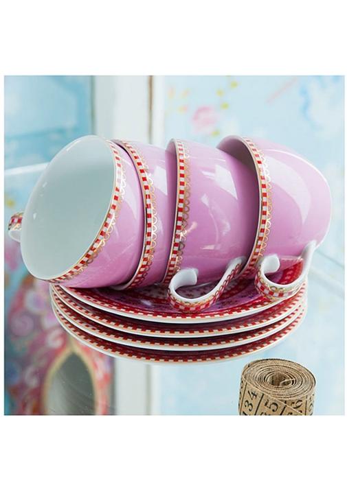 Floral Pembe Çay Fincanı