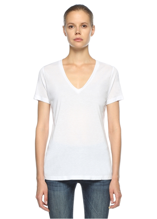Beyaz Standart Fit V Yaka Basic Tshirt