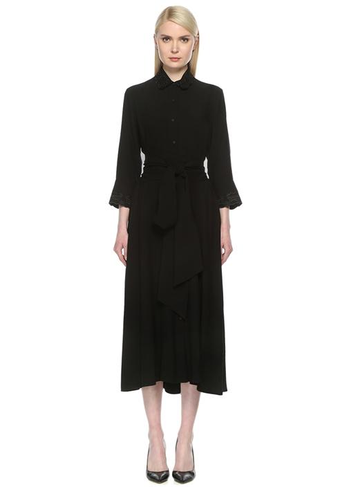 Kuşaklı Siyah Midi Elbise