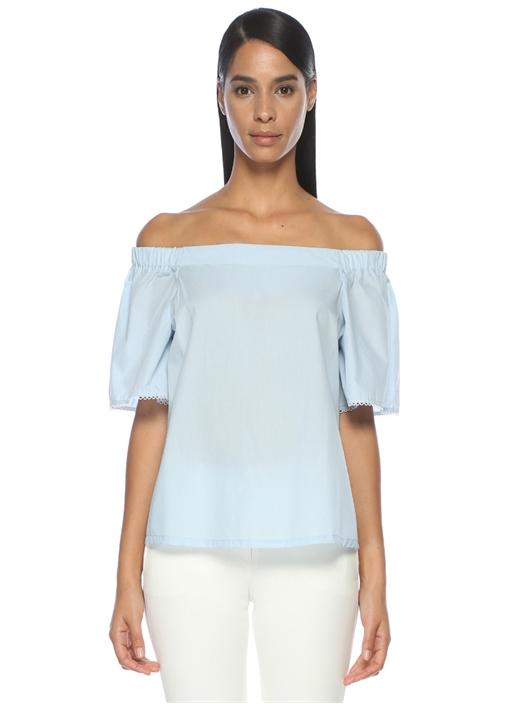 Mavi Kayık Yaka Gömlek