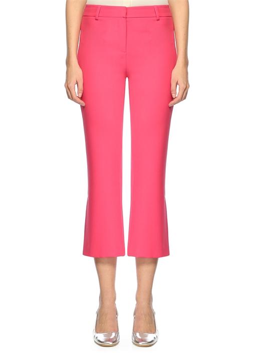Pembe Paçaları Düğmeli Crop Gabardin Pantolon