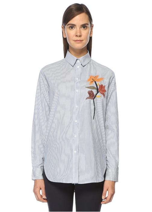 Mavi Beyaz Çizgili Çiçek Nakışlı Gömlek