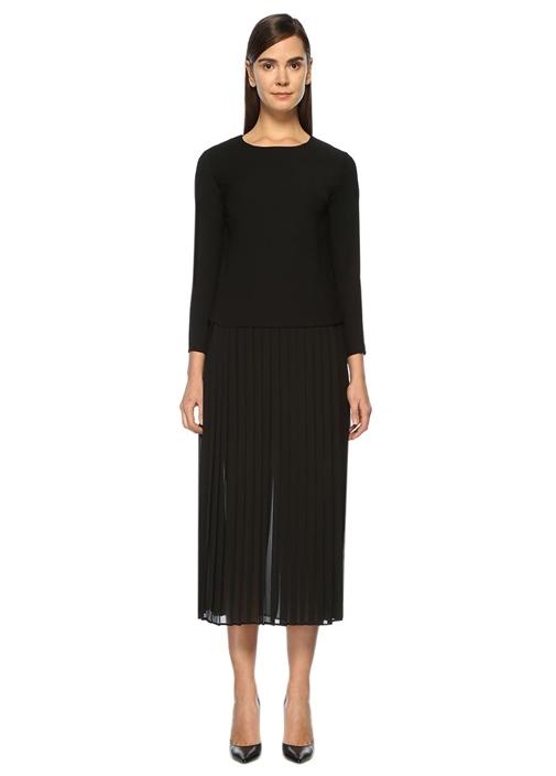 Şifon Pliseli Siyah Midi Elbise