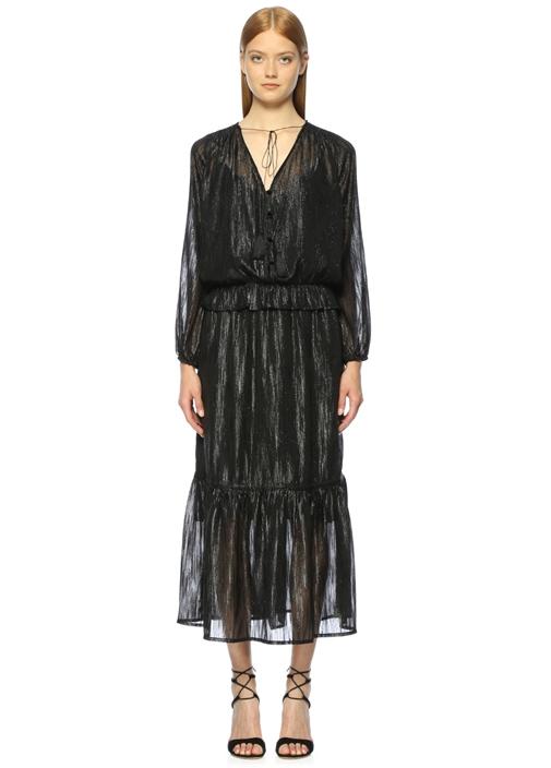 Yakası Bağcıklı Siyah Midi Elbise