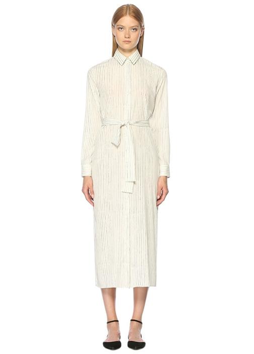 Gömlek Yaka Çizgili Midi Beyaz Elbise
