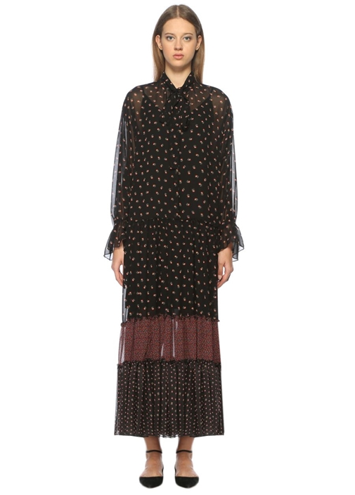 Desenli Fırfırlı Siyah Maksi Elbise