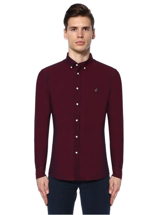 Slim Fit Bordo Oxford Gömlek