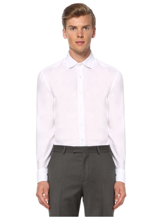 Beyaz Comfort Fit Noniron Özellikli Oxford Gömlek