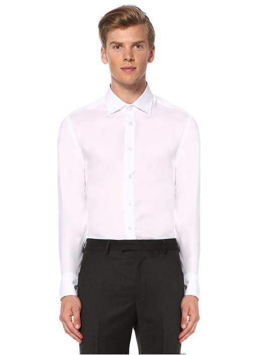 Beyaz Slim Fit Noniron Özellikli Oxford Gömlek
