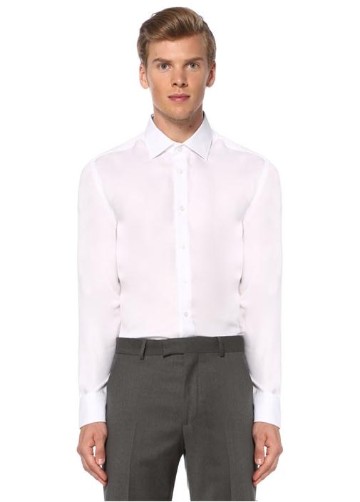 Beyaz Slim Fit Noniron Özellikli Gömlek