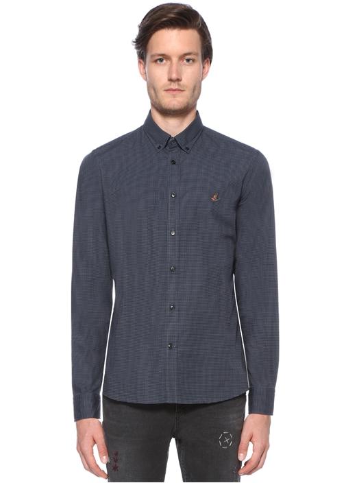 Slim Fit Lacivert Tonal Baskılı Gömlek
