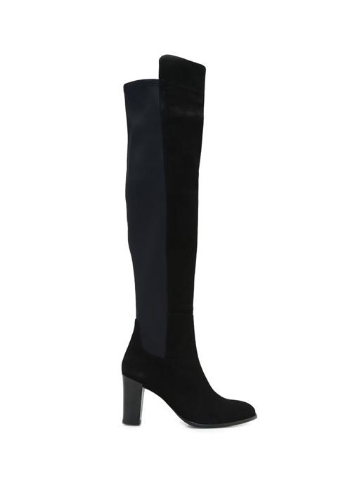 Siyah Kumaş Garni Detaylı Kadın Deri Çizme