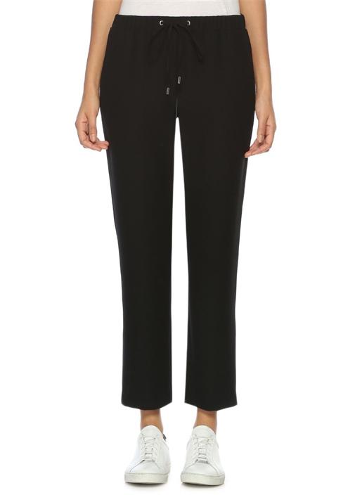 Siyah Bağcıklı Krep Pantolon