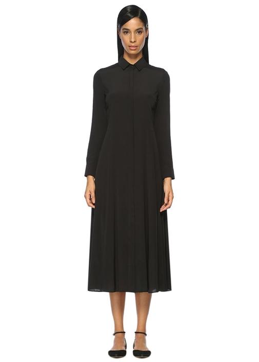 Siyah İpek Maksi Gömlek Casual Fit Elbise