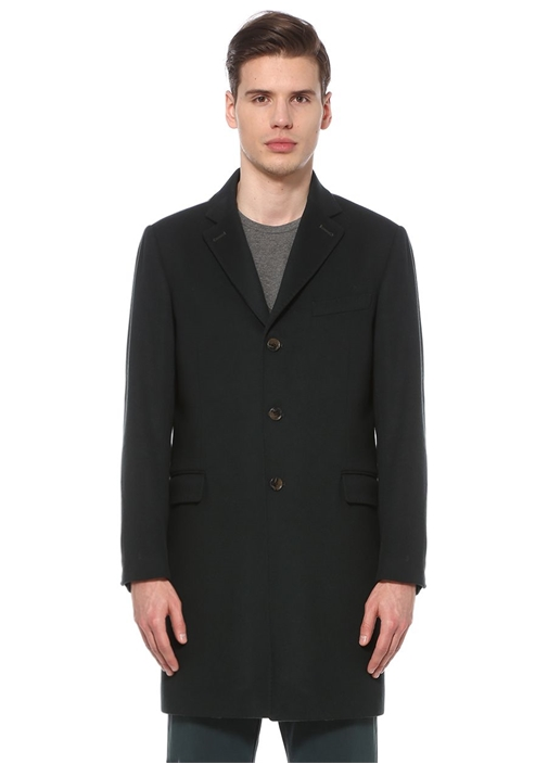 Haki Kelebek Yaka Basic Yün Palto