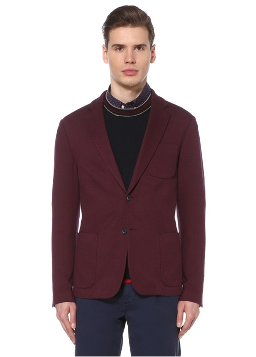 Bordo Kelebek Yaka Örme Oxford Smart Ceket