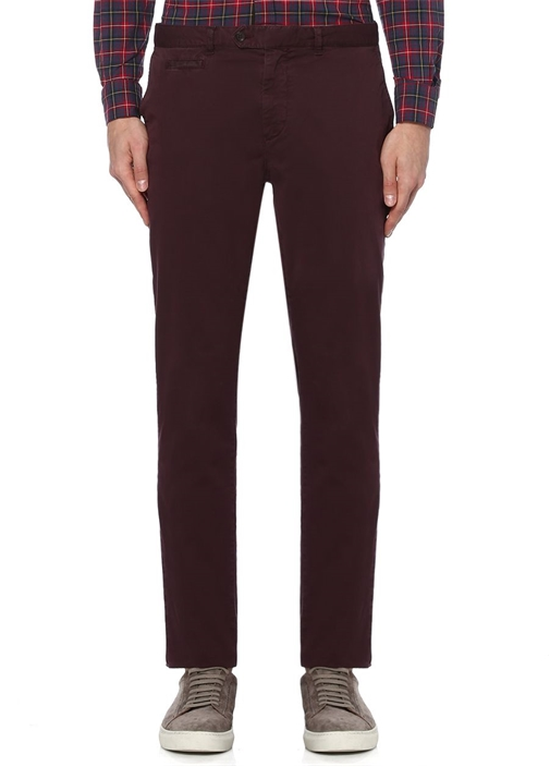 Slim Fit Bordo Paper Touch Spor Pantolon