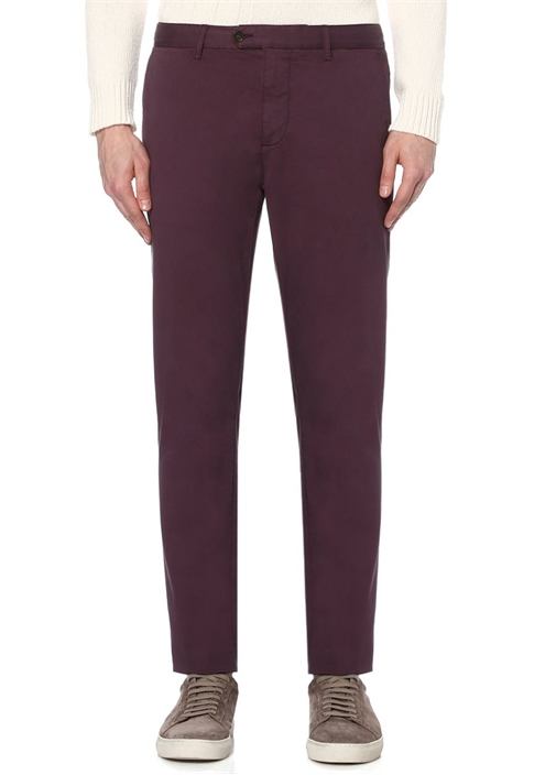 Slim Fit Bordo Soft Yıkama Chino Pantolon