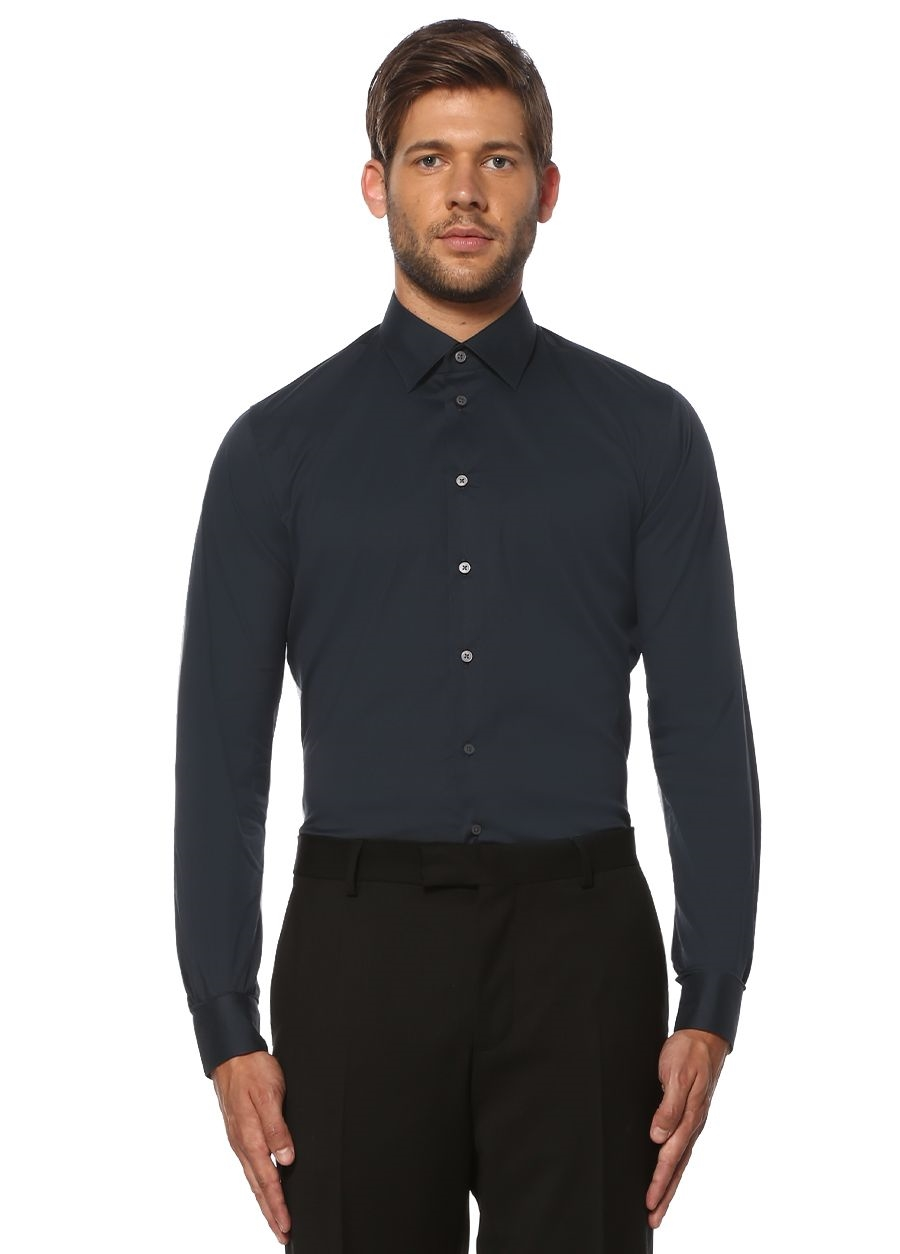 aa3295f0a5a98 Beymen Collection - Slim Fit Lacivert Gömlek - Renk Lacivert