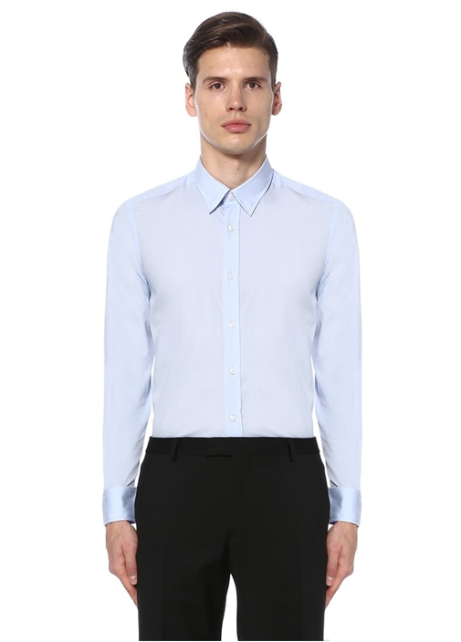 Mavi İngiliz Yaka Özel Fit Gömlek