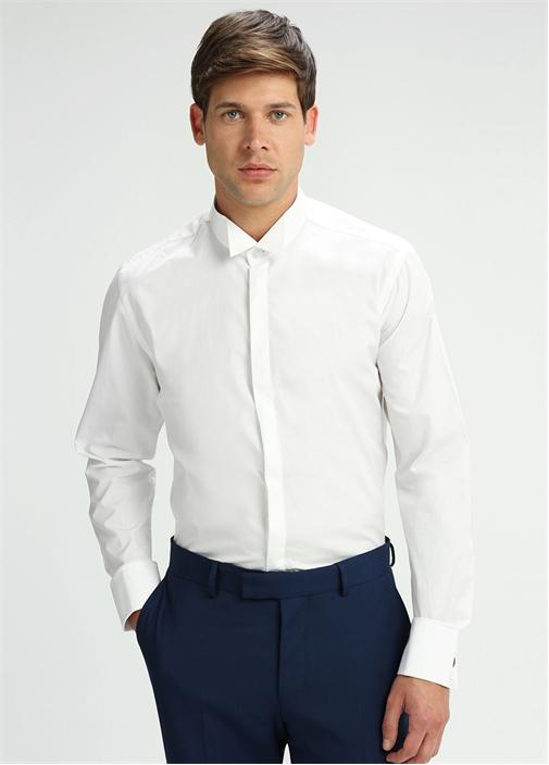 Beyaz Kesik Yaka Gizli Düğmeli Smokin Gömleği