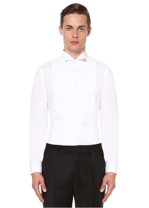 Beyaz Metal Düğmeli Petek Doku Smokin Gömleği