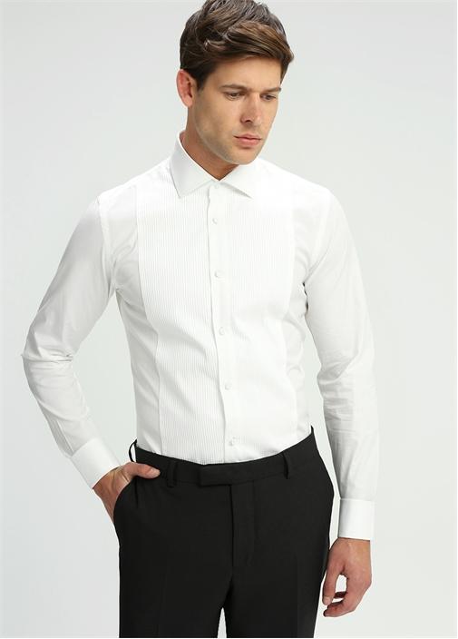 Slim Fit İngiliz Yaka Beyaz Pliseli Smokin Gömleği
