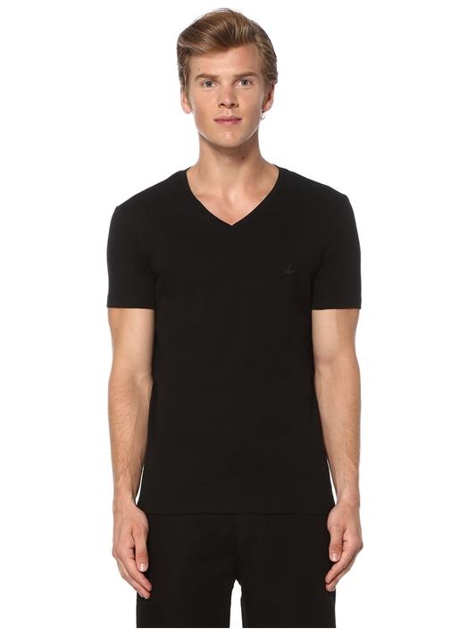 Siyah Bisiklet Yaka 2'li Basic Tshirt
