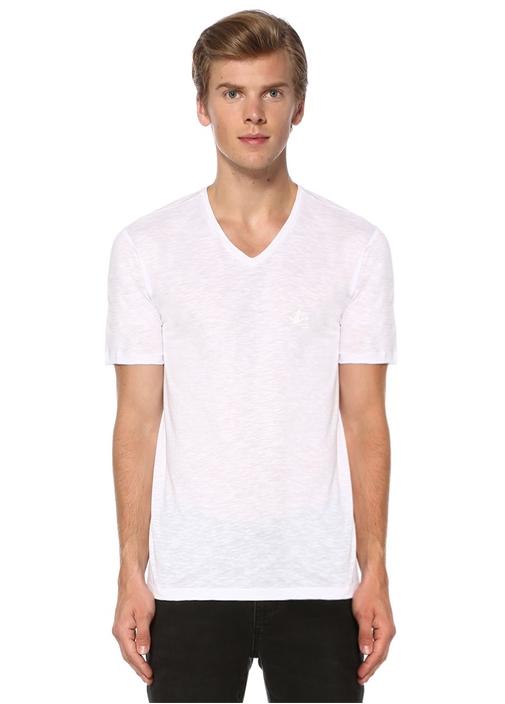 Beyaz V Yaka Basic Tshirt