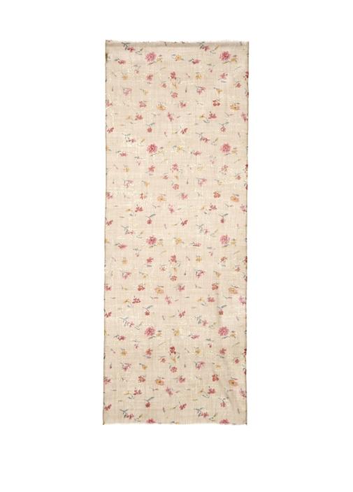 Bej Çiçek Desenli 70x180 Cm Kadın Şal
