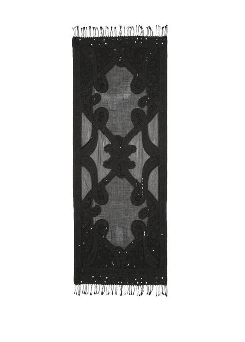 Siyah Pullu Desenli Şal