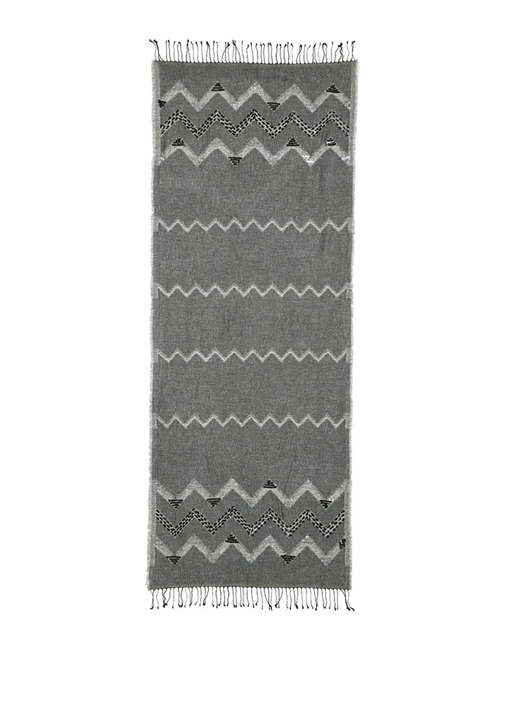 Gri Payetli Püsküllü 70x180 cm Kadın Şal