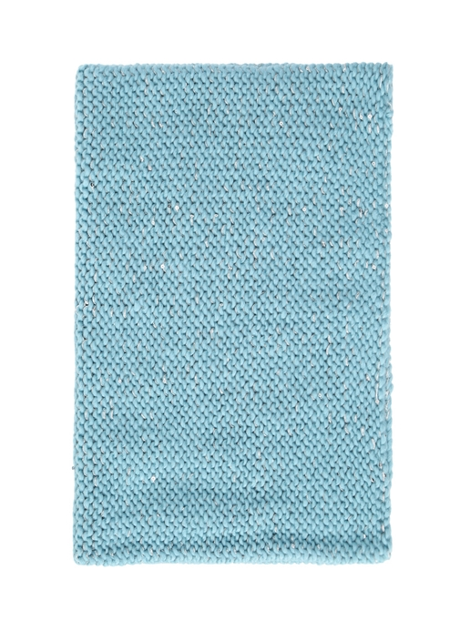 Mavi İşlemeli Kadın Klasik Örgü Boyunluk