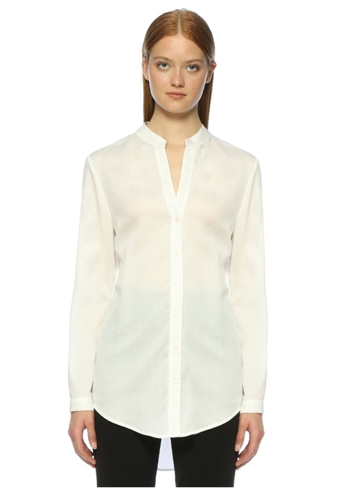 Beyaz Bisiklet Yaka Casual Fit Gömlek