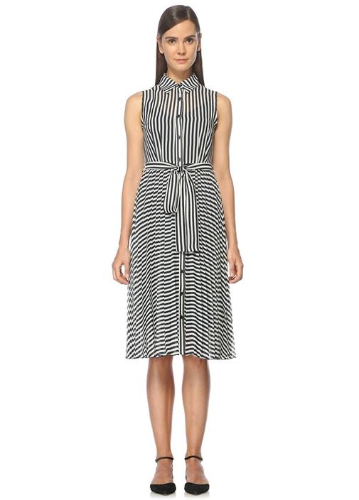 Çizgili Beli Bağcıklı Lacivert Midi Elbise