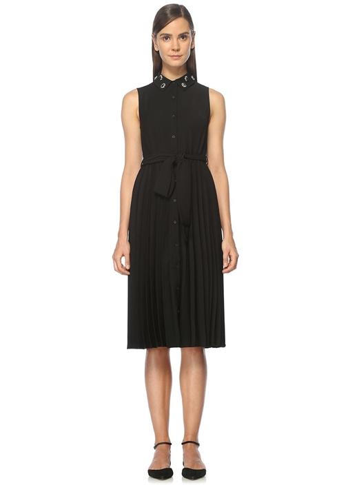 Kuşaklı Pileli Siyah Midi Elbise
