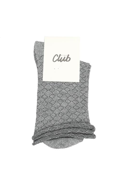 Füme Simli Desenli Soket Çorap