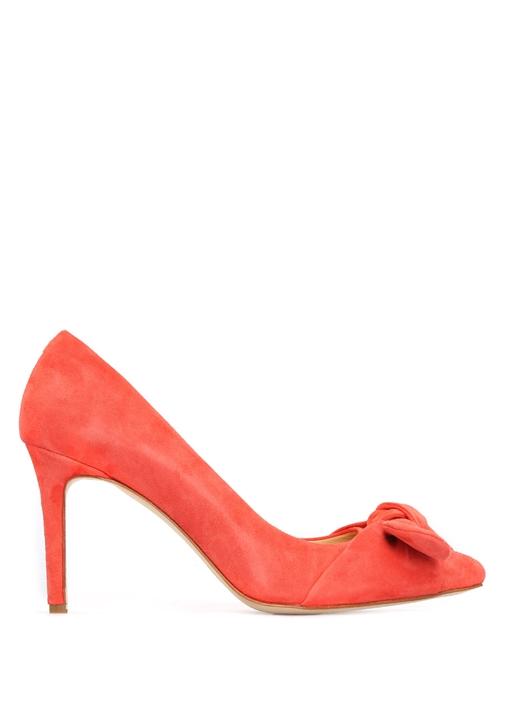 Mercan Fiyonklu Süet Topuklu Ayakkabı