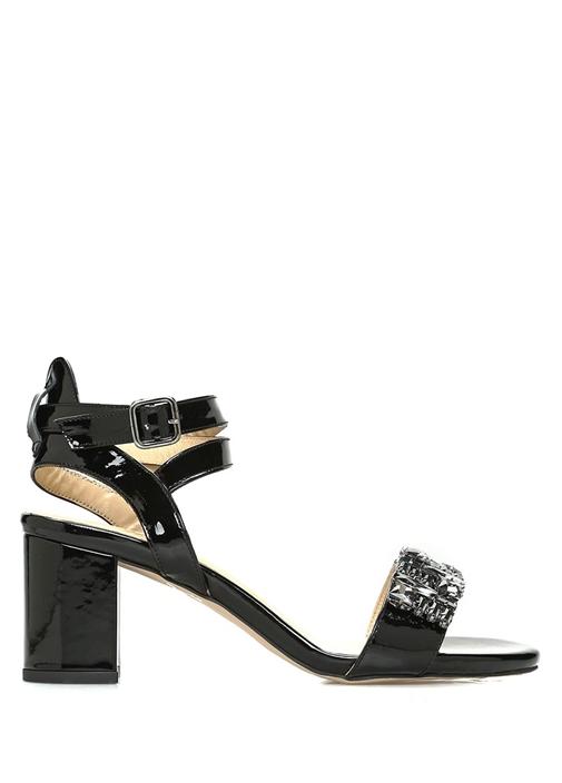 Siyah Taş Detaylı Kadın Rugan Sandalet