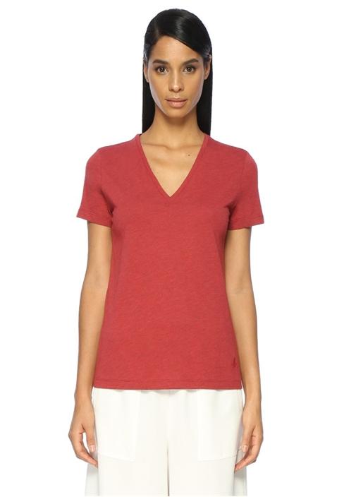Kırmızı V Yaka Basic Tshirt