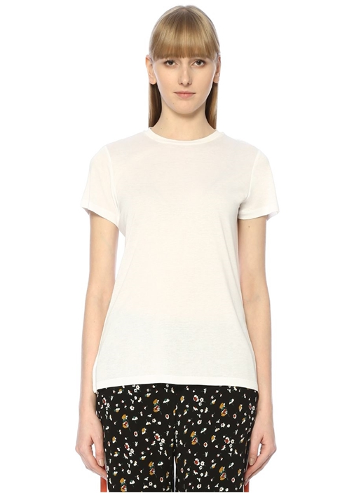 Beyaz Bisiklet Yaka Dökümlü Basic T-shirt