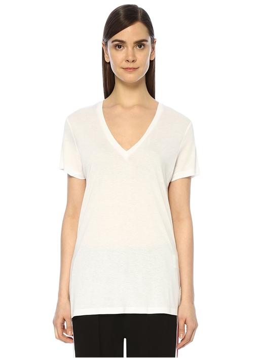 Beyaz V Yaka Dökümlü Basic T-shirt