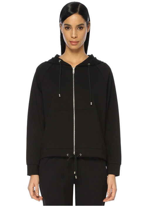 Siyah Yanları Zincir Detaylı Fermuarlı Sweatshirt