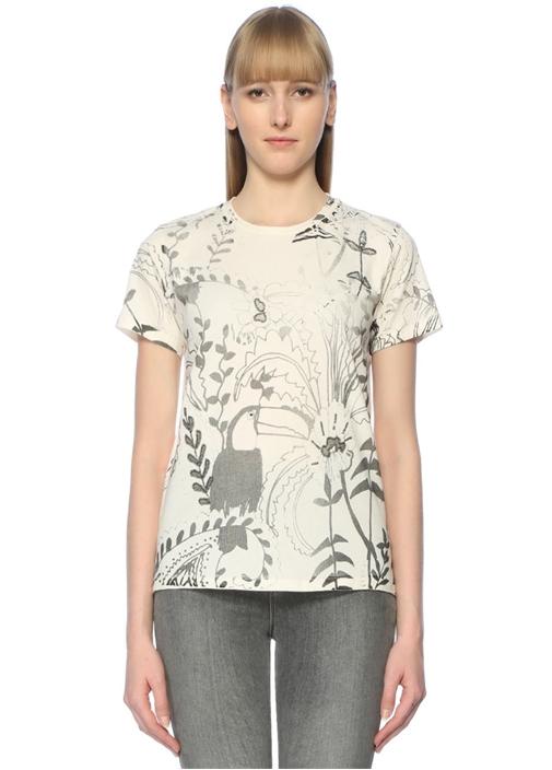 Beyaz Gri Bisiklet Yaka Egzotik DesenliT-shirt