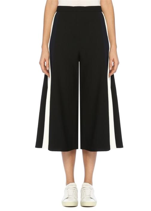 Siyah Yanı Zincir Şeritli Kısa Paça Pantolon
