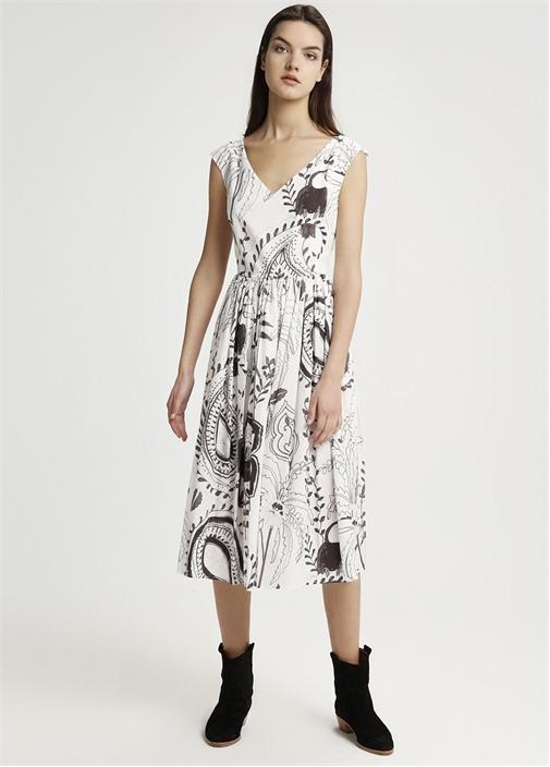 Kırık Beyaz Desenli Midi Elbise