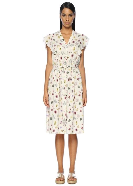 Çiçek Desenli Kolsuz Midi Gömlek Elbise