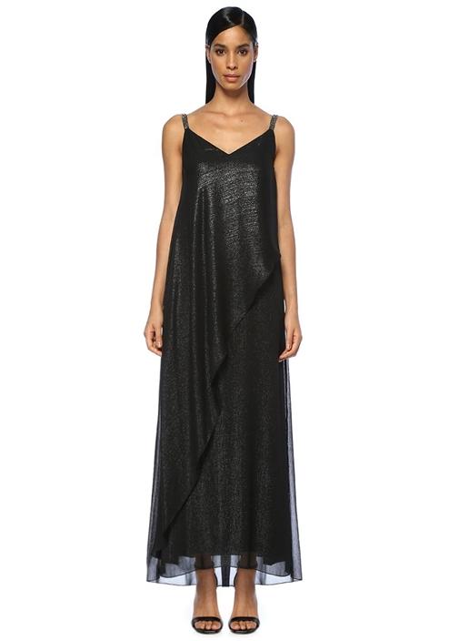 Siyah Boncuklu Askılı V Yaka Maksi Şifon Elbise